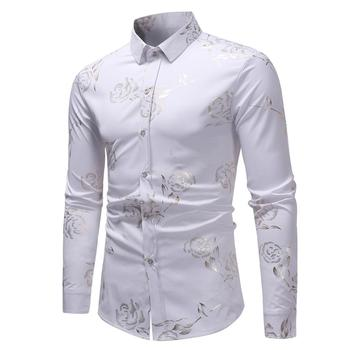 4 Color Luxury Gold Foil Rose Flower Print Shirt Men Slim Fit Long Sleeve Tops Causal Male Button Down Shirts ECS15