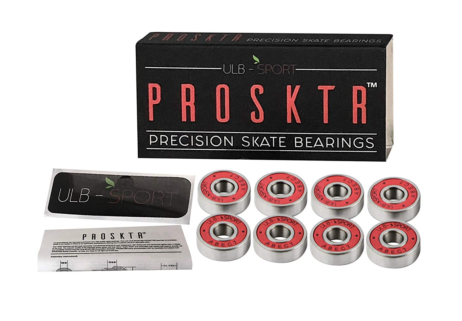 PROSKTR 7mm Skate Wheel Bearings – Set of 8 ABEC 7 Rating Pre-Lubricated Bearings – Ideal as Skateboard, Longboard, Scooter, Hamboard, Spinner Bearings – Smooth Rolling, Faster Speed, Sturdy Build