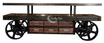 Industrial Console Table With Wheels And Drawers In Antique Style
