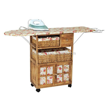 Wooden Storage Cart Ironing Board Cabinet For Laundry Room