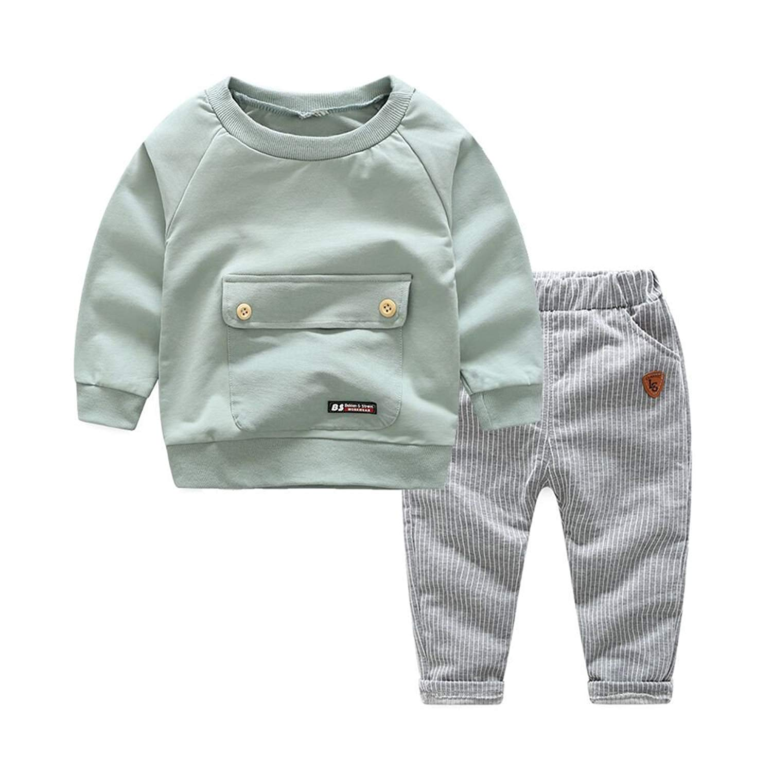 Moyikiss Studio Organic Cotton Baby Boys Girls Casual Clothes Long Sleeve T-Shirts+Trousers 2Pcs Outfit Set