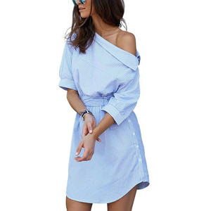 Summer Women Dress Blue Striped Shirt Dress Mini Sexy Side Split Half Sleeve Beach Dresses