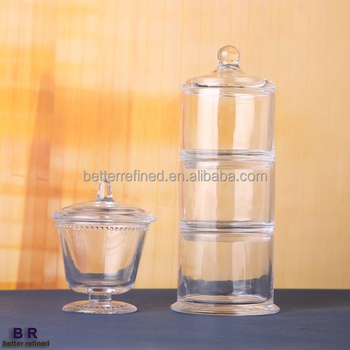 3 tier stackable clear glass cookie jar