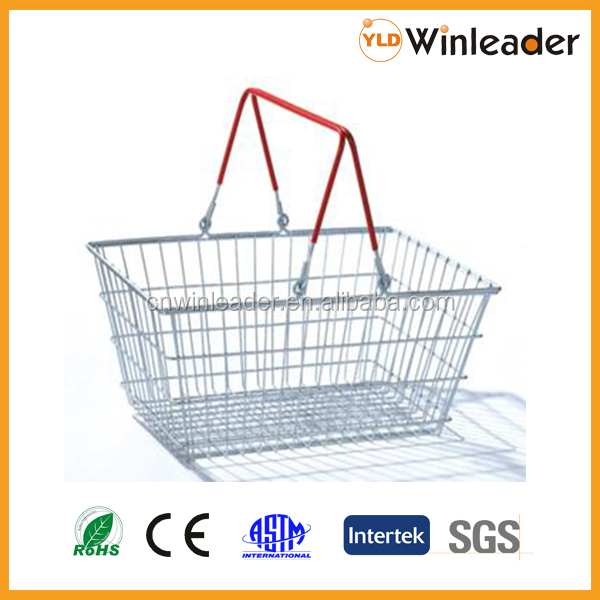 Cheaper steel wire hand basket for shopping in any supermarket