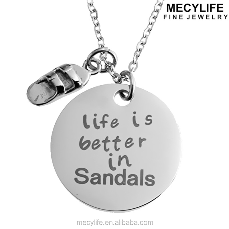 MECYLIFE Inspirational Necklace Stainless Steel Surfer Pendants Sandals Shoe Pendants
