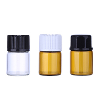 1ml 1/4 dram Mini blue clear amber Glass Vials with Orifice Reducer and Cap for essential oil