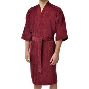 Men  women Red Cottonterry Velour Kimono Shower Robe - Buy Red ... b8270106cc