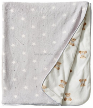 China manufacturer, custom print muslin polyester swaddle blanket, super soft textile plush baby blanket wholesales