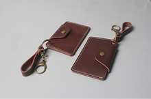 portable genuine leather buckled card holder with lanyard keychain