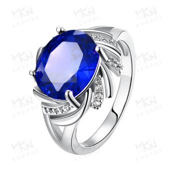 2015 Latest Popular Single Big Blue Neelam Stone Gold Ring Designs
