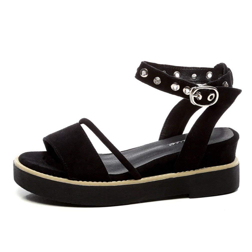 b65fd6dc26a Get Quotations · Womens Ladies Wedge Platform High Heel Slides Sandals  Sanding Buckle Slippers Peep Toe Roman Slip on