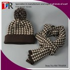 Swallow Pattern Knitted Pom Beanie Hat Scarf Set Winter Knitted Scarf Hat Combination