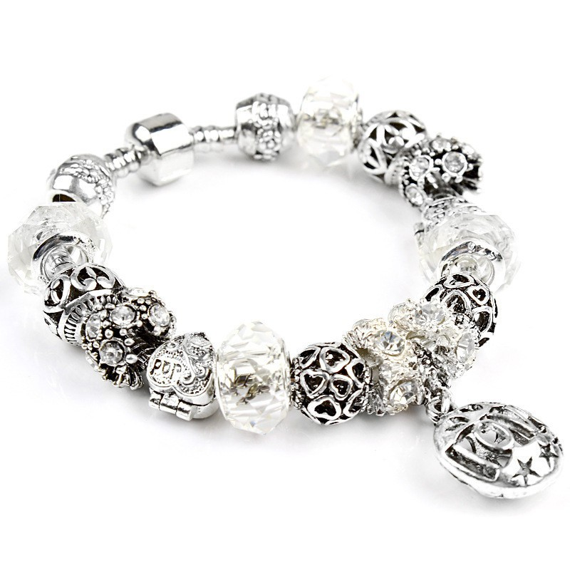 Hot Sale Fashion DIY European Beads Pink Crystal Rhinestones Women Bracelet