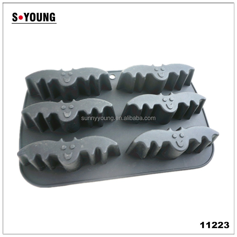 11223 Silicone 6 Bat Cake Cupcake Muffin Jelly Chocolate Candy Mould Mold Baking