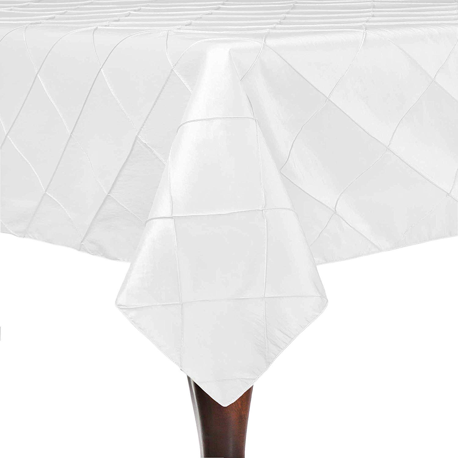 Ultimate Textile -2 Pack- Embroidered Pintuck Taffeta 90 x 90-Inch Square Tablecloth White