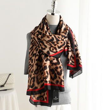 Wholesale 90*180cm Custom Leopard Print Long Ladies Silk Scarf Scarves