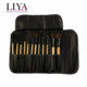 professional pro makeup 12 piece cosmetic brush set with leather pouch