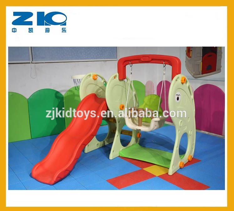 Dolphin Indoor Plastic Slide And Swing Set Small Playground For ...