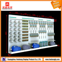 sportswear store retail wall display systems for shoes and sports goods