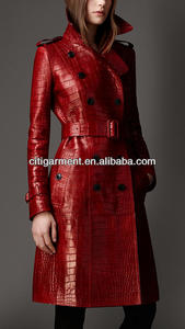 Women Long Alligator Leather Trench Coat