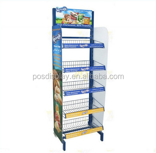 Metalen vloer brood display rack / biscuit display stand / Snacks / snoep display Stand