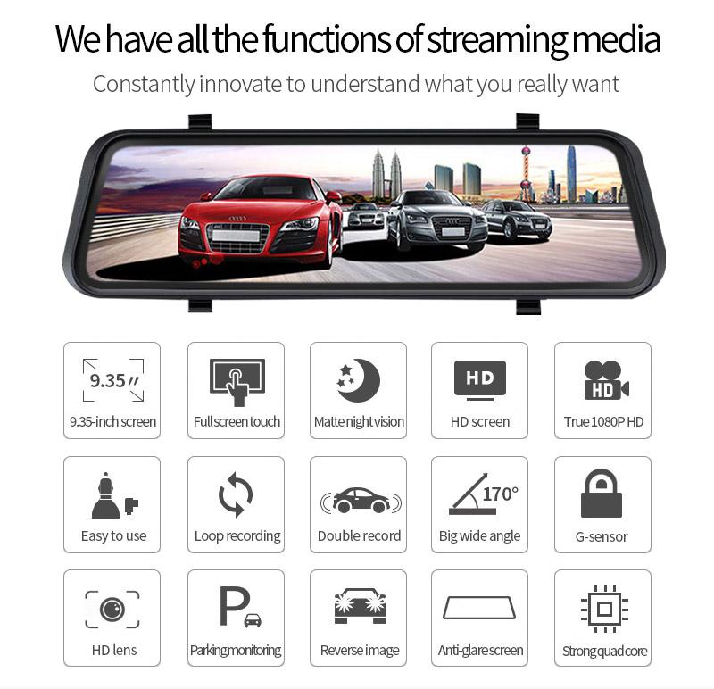 "Dual Cam FHD 1080P 10.0"" Car DVR Dash Streaming Media Rearview Mirror Car Camera"