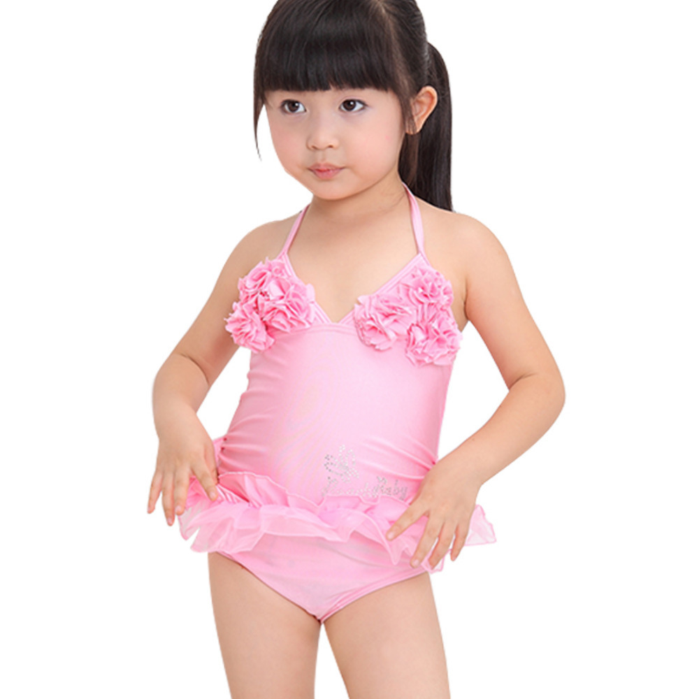 b6f84255e8 Get Quotations · Girl Kid Swimwear One Piece Swim Wear Swimsuit with  Swimming Cap Beach Party Floral Bikini Bathing