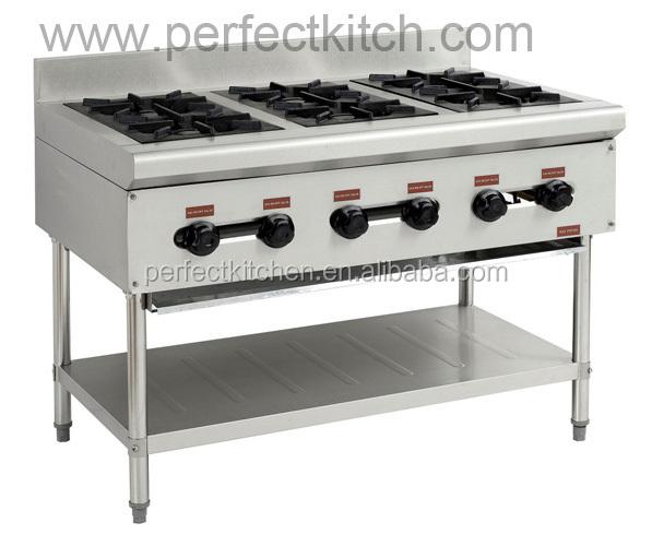 Stainless Steel Table Top Range 6 Burners Industrial 6 Burner Gas Cooker