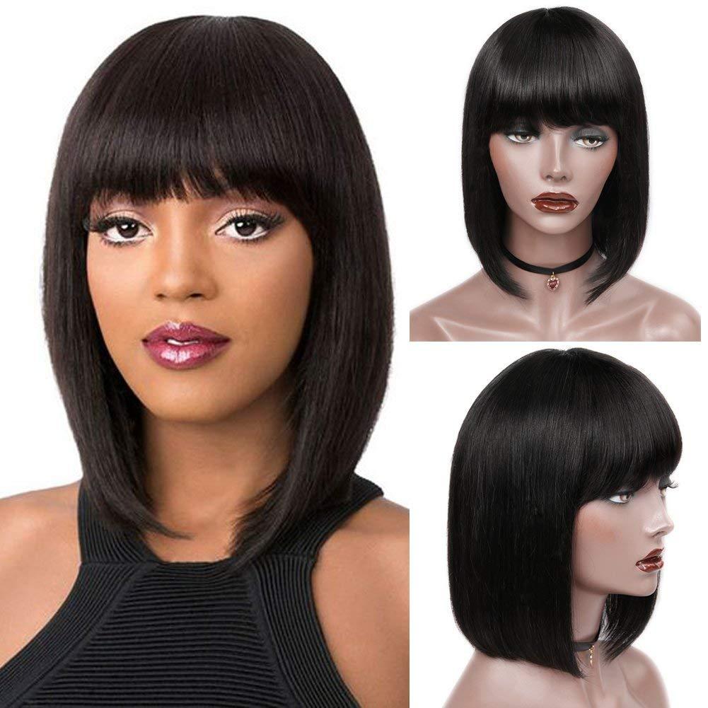 "Wiger Short Bob Wigs Brazilian Virgin Human Hair Bob Wig with Bangs Straight Glueless Wig (12"")"