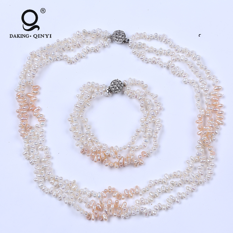 Hyderabad freshwater pearl set three row necklace bracelet set in bulk