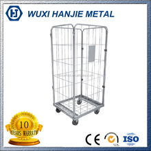 galvanized metallic laundry cart , supermarket roll cage trolley , metal wire mesh roll cage(HJ-RC204)