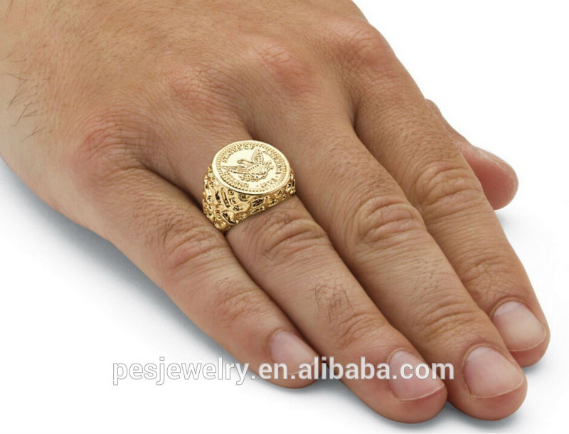 Mens Jewelry 14k Gold Plated Sporty Champion Coin Ring Wholesale