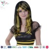 long cheap wholesale halloween black witch wig with yellow highlight