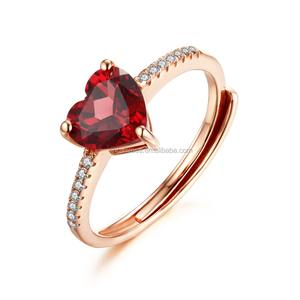 Adjustable Silver Rings Heart Shape Genuine Garnet Stone Costume Jewelry Gemstone Ring for Girl
