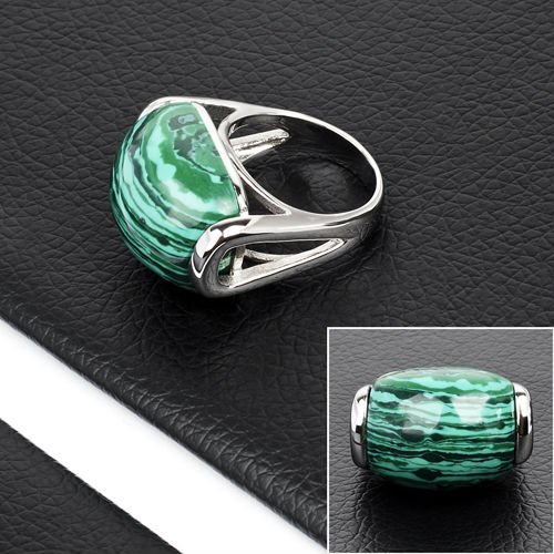 Fashion Stainless Steel Green Turquoise Stone Ring Jewelry(DR10057)