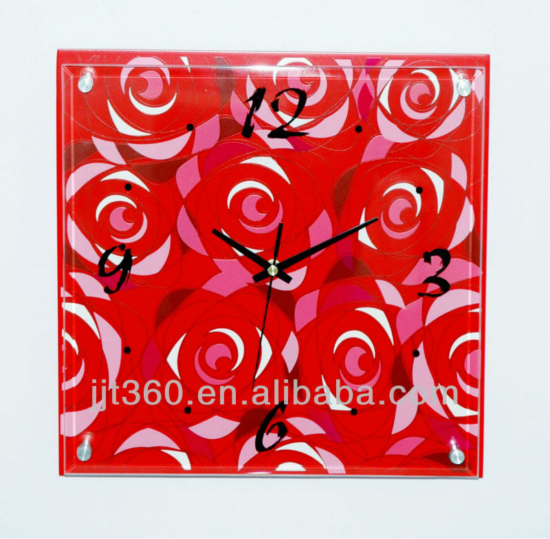 Glass Wall Clock with Art Painting Wall Clock