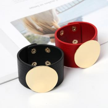 Wholesale high quality simple 100% leather alloy cuff bracelet accessories women mens leather bracelet