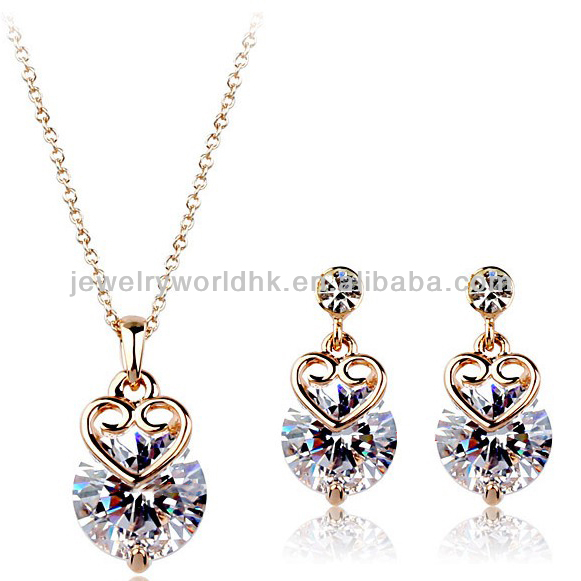 Fashion 18k gold plated authentic austrian crystal wholesale fashion jewelry <strong>set</strong>
