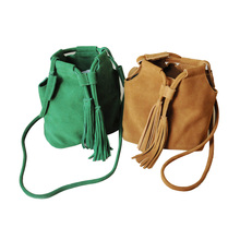 Women genuine leather handbag suede bags crossbody bags handbags fashion 2017 bucket tassel bags