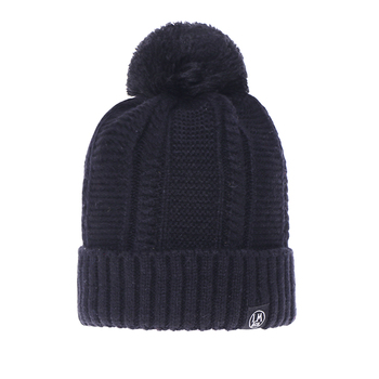 34411626697 China factory custom fashion black woven label your logo design fold up winter  knitted caps hat