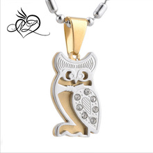 2015 China New Product Fashion Jewelry Wholesale Stainless Steel Gold Plated Owl Shaped Pendant