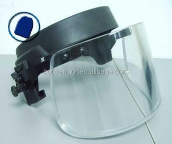 34462772 Transparent High Quality bulletproof Helmet Visor meet NIJ Level IIIA 9mm, Ballistic  face shield for