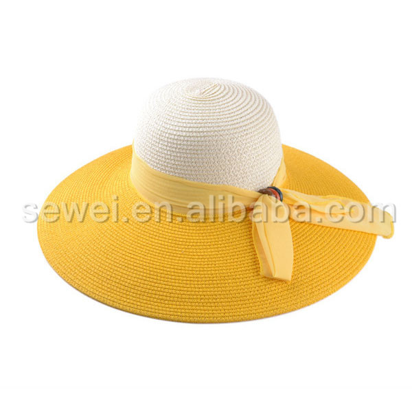 Custom Sun Visor sombrero in Straw Hats With Ribbon of ladies church hat Wholesale