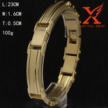 In Stock Stainless Steel Great Wall Pattern 18k Gold Bracelet Men Jewelry Personality