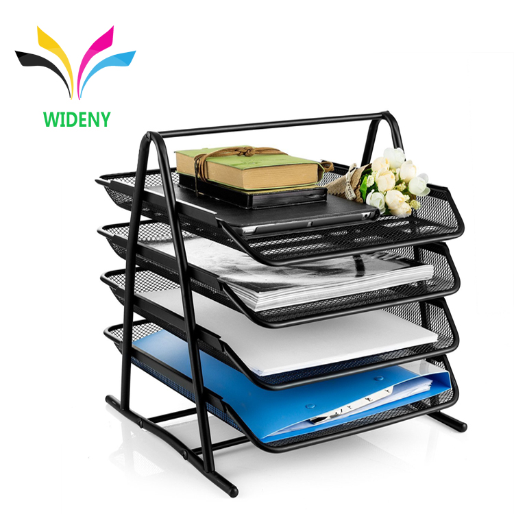 Wideny metal mesh 4 Tier Stackable Desk Document Letter file Tray