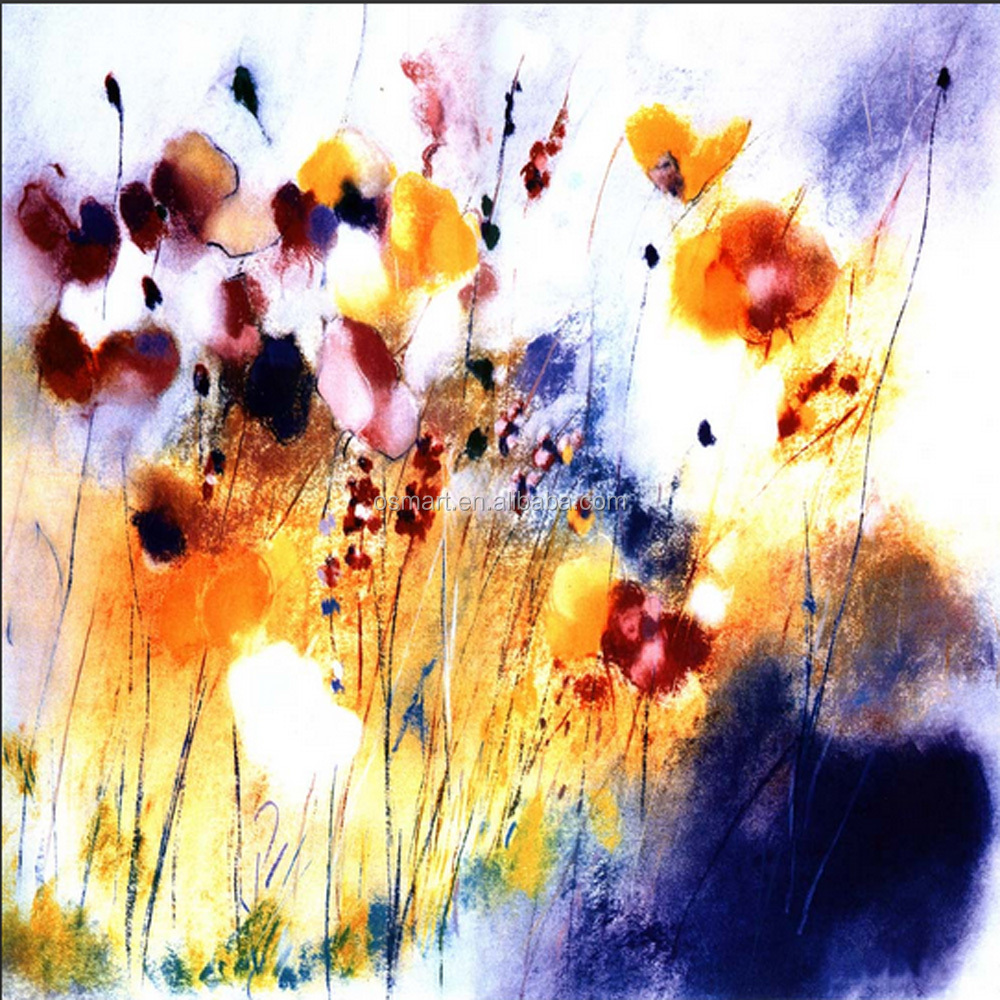 Newest Design Abstract Painting Handmade Abstract Flower Painted ...