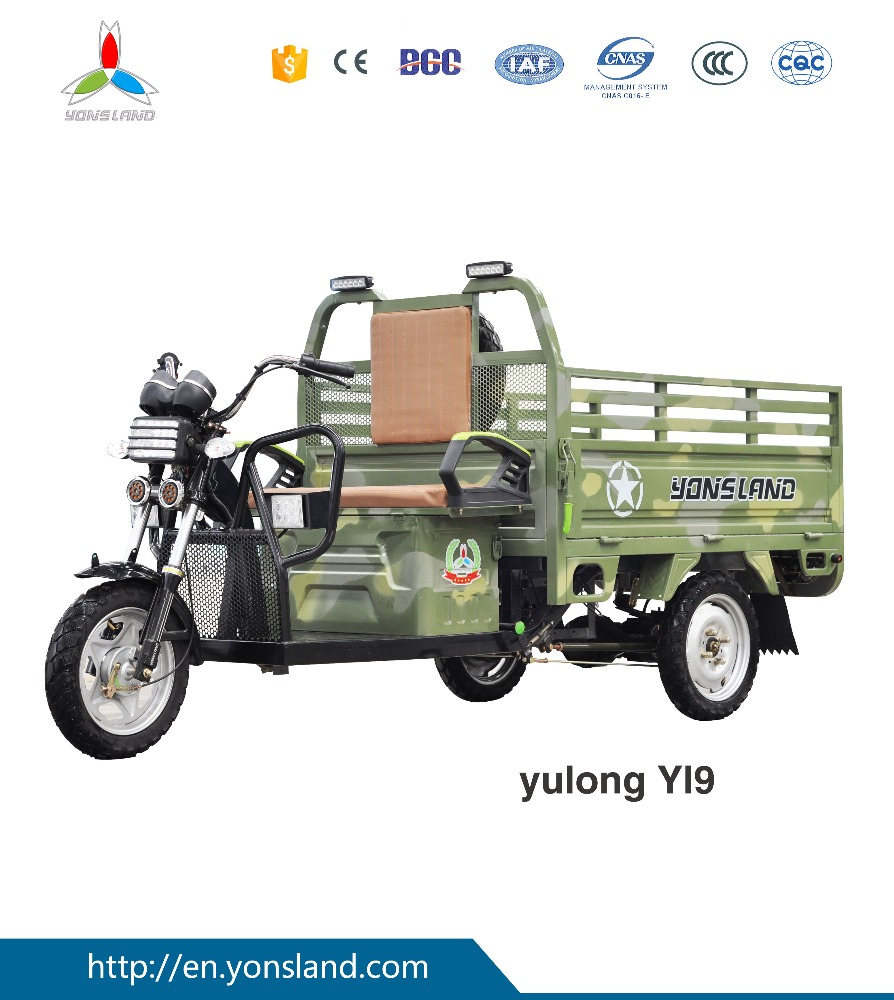 China high quality cargo tricycle/three wheel electric motorcycle with 500W motor