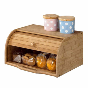 High quality Roll Top Kitchen Food Storage Natural bamboo bread box
