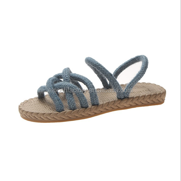 New Arrival Wholesale Womens Beach Straw Hemp Braided Rope Sandal