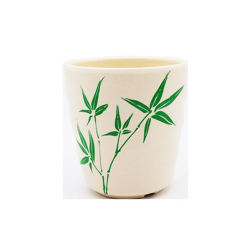 100% Degradable Bamboo Fiber Leaves Printed Simple Style Water Mugs Cups